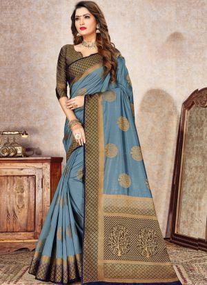 Graceful Naylon Silk Grey Occasion Wear Saree