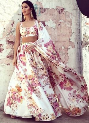Graceful White Digital Printed Katrina Kaif Wear Lehenga Choli