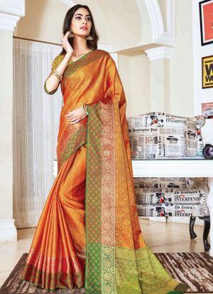 Graceful Yellow Colour Handloom Silk Saree
