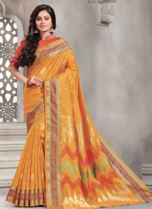Graceful Yellow Handloom Silk Saree