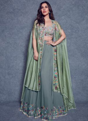 Greaceful Pista Vichitra Silk Thread Work Lehenga Choli