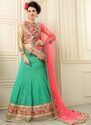 Green Banarasi Silk Party Wear Lehenga Choli