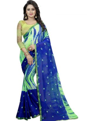 Green Color Chiffon Saree With Blouse