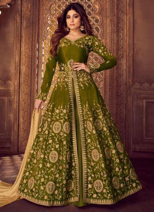 Green Color Mulberry Silk Embroidered Pakistani Suit
