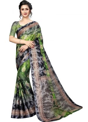 Green Color Printed Jute Silk Saree