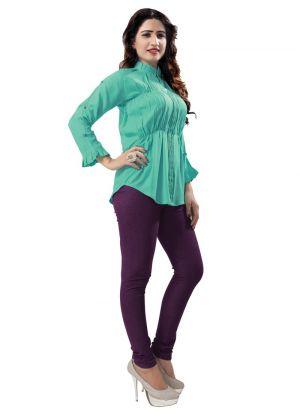 Green Color Rayon New Trend Top