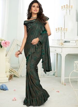Green Color Top Styles Of Ready To Wear Ruffle Saree