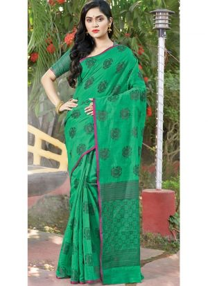 Green Color Traditional South Indian Wedding Cotton Handloom Saree