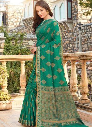 Green Color Women Wedding And Partywear Cotton Handloom Saree