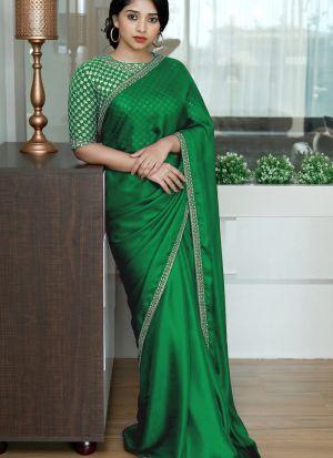 Green Colored Two Tone Silk Fancy Thread Work Saree