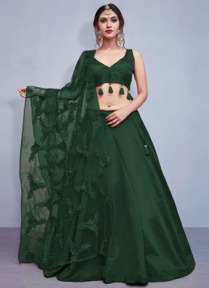 Green Colour Tafetta Silk Volume 8 Bride Maids Lehenga Choli