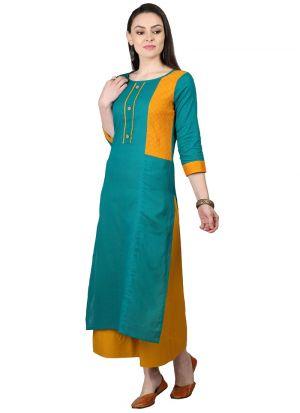 Green Cotton Flex Designer Kurti