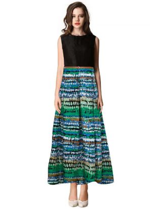 Green Cotton Western Style Gown