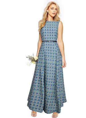 Green Crepe Western Style Gown