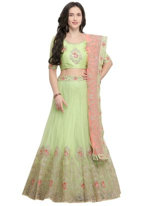 Green Designer Wedding Lehenga Choli With Net Fabric