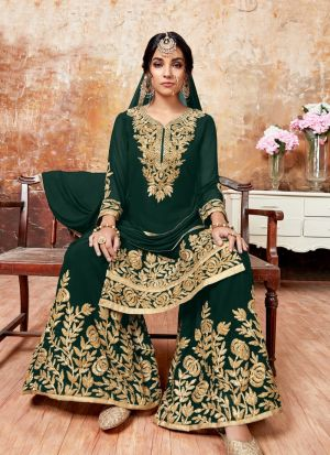 Green Foux Georgette Designer Sharara Style Salwar Suit With Ribbon Work