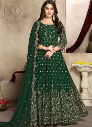 Green Georgette Designer Anarkali Suit