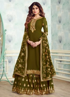 Green Georgette Embroidered Skirt Kameez