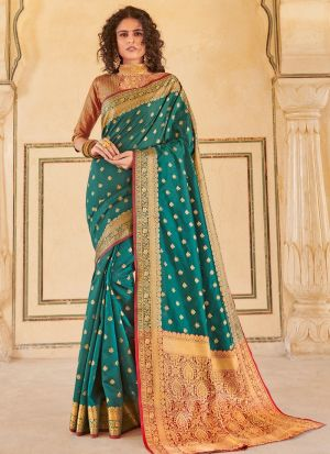 Green Handloom Silk Indian Traditional Saree