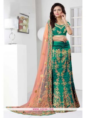 Green Heavy Bangalore Silk Anarkali Lehenga