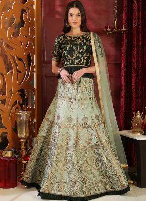 Green Latest Indian Designer Lehenga Choli For Engagement Party