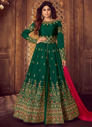 Green Mulberry Silk Embroidered Pakistani Suit