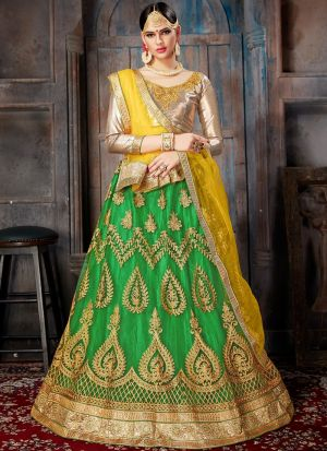 Green Net Indian Wedding Lehenga Choli