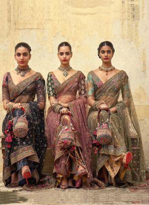 Green New Launching Naylon Mono Net Bollywood Celebrity Saree