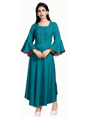 Green Pure Heavy Rayon Women Latest Wear Kurti Collection