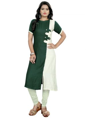 Green Rayon Plain Latest Design Kurti Patterns