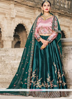 Green Resham Embroidery Satin Designer Lehenga Choli