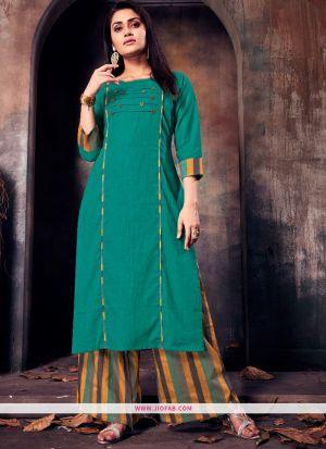 Green Ruby Cotton Plain Heavy Designer kurti