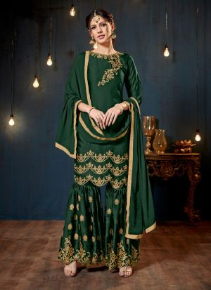 Green Satin Georgette Designer Sharara Style Salwar Suit With Heavy Work