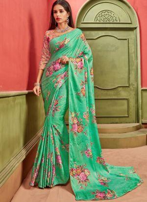 Green Satin Latest Design Festive Wear Saree