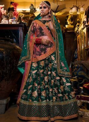 Green Tafetta Silk Lehenga Choli Designer Collection