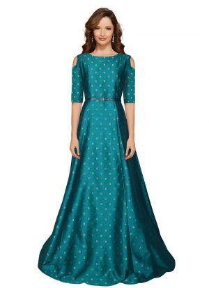Green Taffeta Half Sleeve Gown