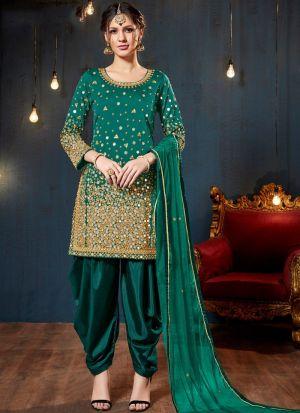 Green Taffeta Silk Designers Salwar Kameez Dresses For Eid