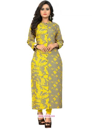 Grey And Yellow Rayon Printed Party Wear Designer Kurti