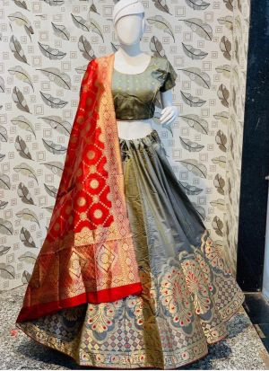 Grey Color Jacquard Lehenga Choli With Banarasi Silk Dupatta