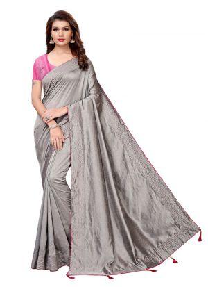 Grey Color Raksha Bandhan Special Sarees Collection