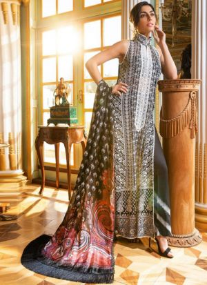 Grey Faux Georgette Embroidered Staraight Pakistani Salwar Kameez For Eid
