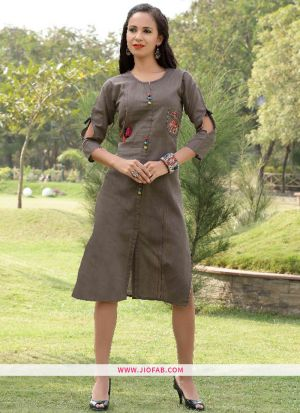 Grey Gaju Kurti Embroidery Work With Fancy Button