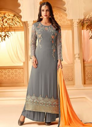 Grey Georgette Embroidered Staraight Pakistani Salwar Kameez