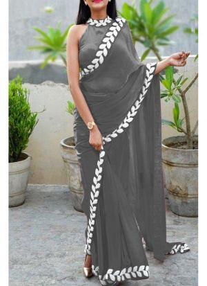 Grey Heavy Embroidery Lace Border Vichitra Silk Designer Saree