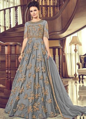 Grey Heavy Net Designer Floor Lenth Salwar Suit