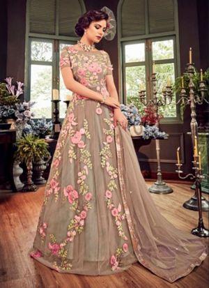 Grey Heavy Net Indian Designer Salwar Suit