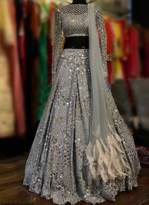 Grey Heavy Satin Party Wear Lehenga Choli