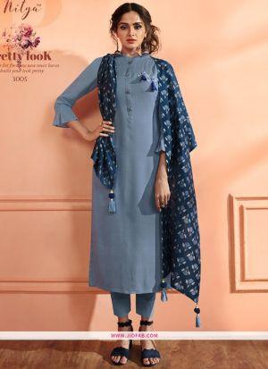Grey Maslin Plain Designer Salwar Suit