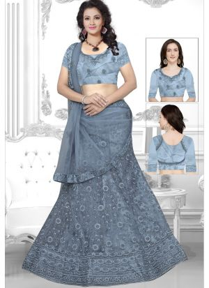 Grey Net Designer Lehenga Choli Collection