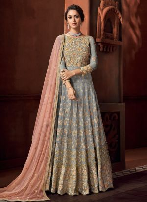 Grey Net New Launching Anarkali Suit For Wedding